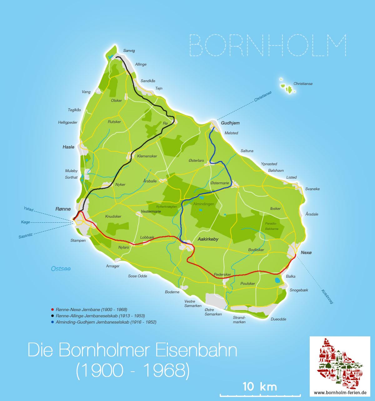 karte eisenbahnnetz dänemark Bornholms Eisenbahn (DBJ)   Geschichte, Eisenbahnlinien