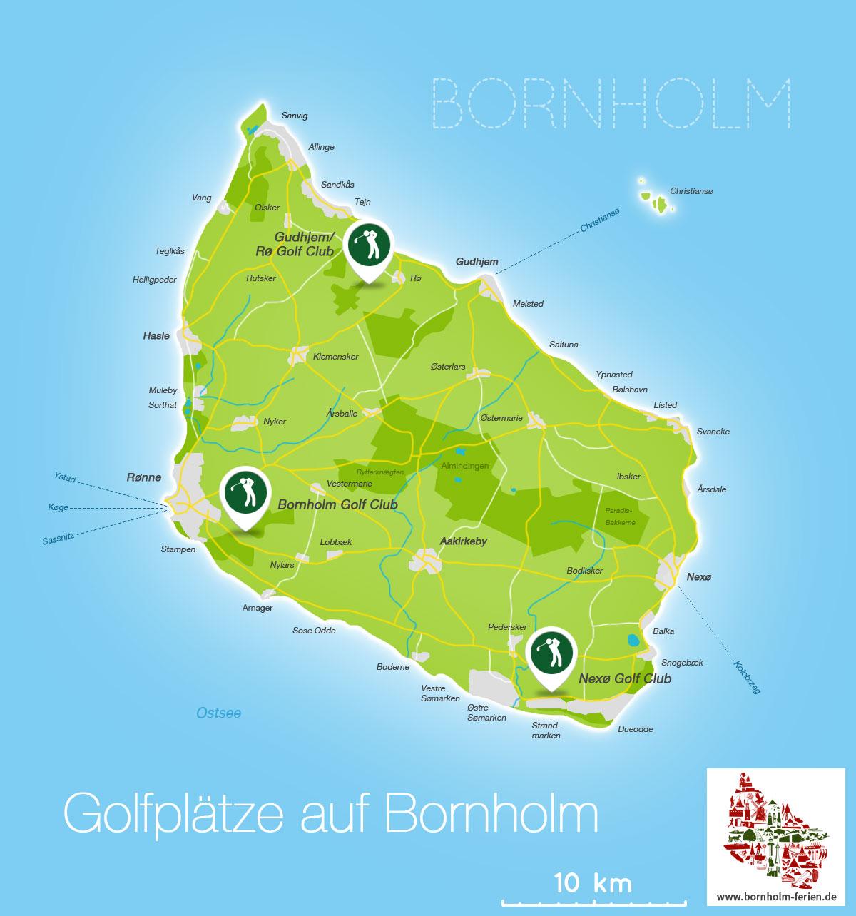 golfplätze dänemark karte Golfplätze & Golfclubs Insel Bornholm (Dänemark), Bornholm Golf