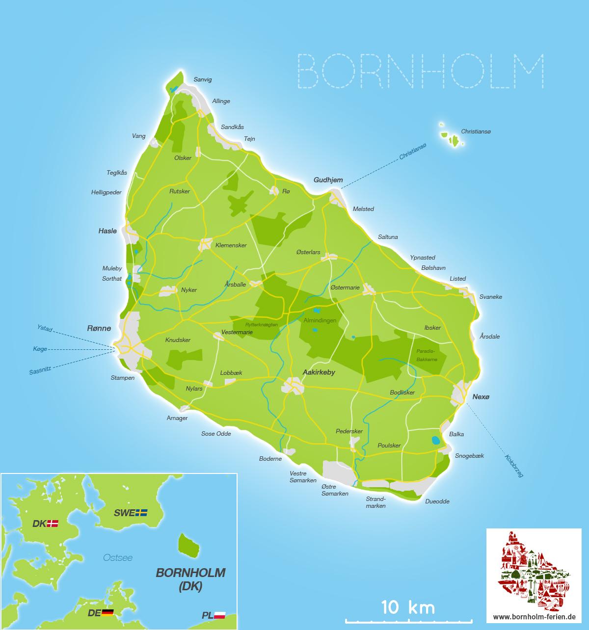 Lage Grosse Insel Bornholm Danemark Ostsee Bornholm Ferien De