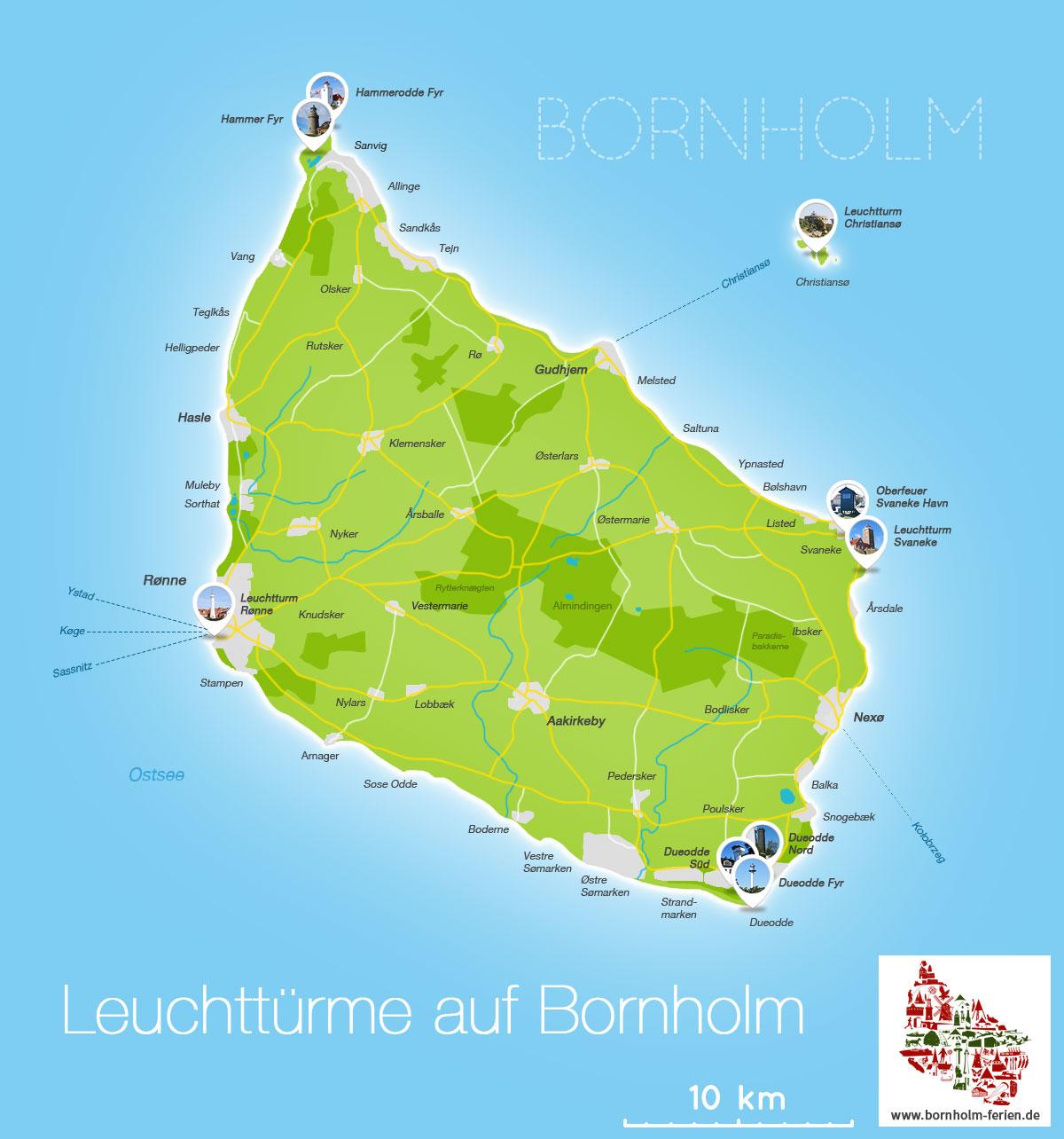 leuchttürme dänemark karte Leuchttürme Insel Bornholm (Dänemark)   Alle Bornholmer