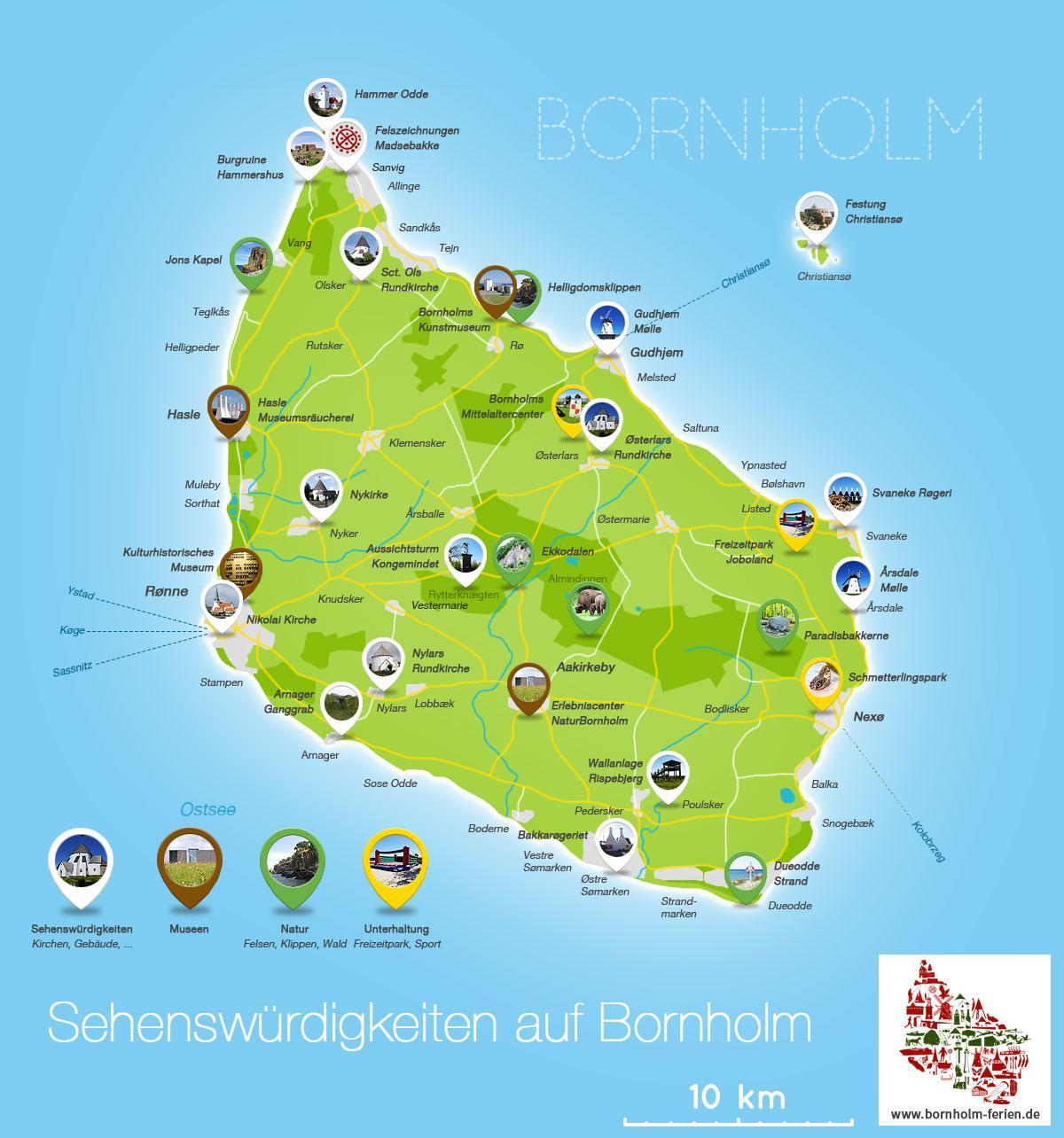 dänemark sehenswürdigkeiten karte Sehenswürdigkeiten auf Bornholm, Ausflugsziele   Bornholm Ferien.de dänemark sehenswürdigkeiten karte